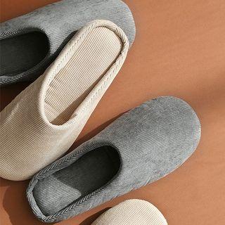 Round-toe Corduroy Slippers