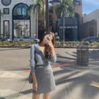 Plaid Tweed A-line Miniskirt