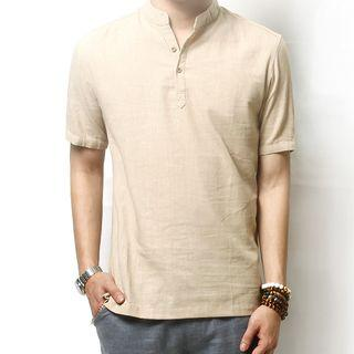 Linen Half-placket Short-sleeve Shirt