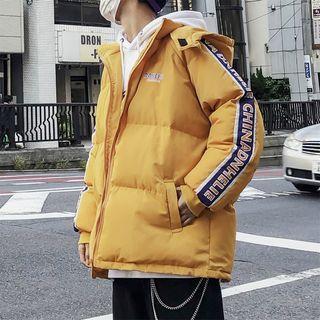 Lettering Trim Hooded Padded Jacket