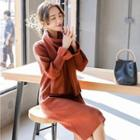 Long-sleeve Knit Dress With Scarf