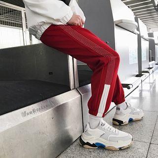 Check Panel Straight-leg Pants