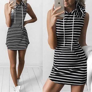 Striped Hooded Tank Dress
