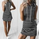 Striped Hooded Tank Dress