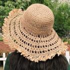 Fringed Straw Sun Hat