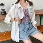 Plain Shirt / Striped Camisole Top