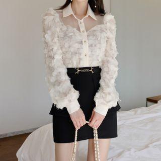 Set: Chiffon Shirt + Mini Fitted Skirt
