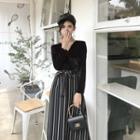 Striped V-neck Velvet High-waist Mock-two Piece Dress