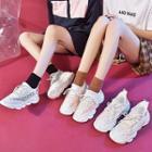Contrast Trim Mesh Platform Running Sneakers