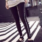 Lettering-trim Leggings Black - One Size