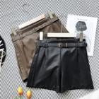 Faux-leather Shorts With Belt
