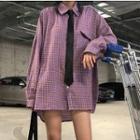 Tie-neck Oversized Plaid Shirt Purple - One Size