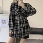 Long-sleeve Belted Plaid Shirt