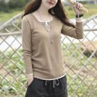 Mock Two-piece Placket Knit Top