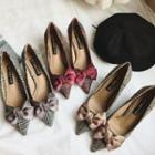 Bow Accent Pointed Kitten-heel Pumps