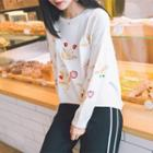 Plain Floral Embroidered Sweater