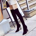 Pointed Block Heel Tall Boots