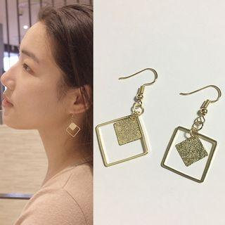 Alloy Square Dangle Earring Gold - One Size