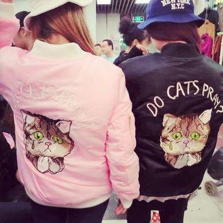 Cat Embroidery Bomber Jacket Pink - One Size