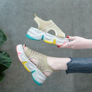 Striped Cutout Platform Sneakers