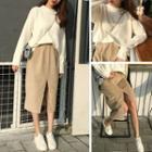 Plain Corduroy Midi-skirt / Plain Sweater