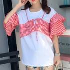 Gingham Panel Short-sleeve T-shirt