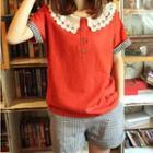 Crochet Collar Short-sleeve Henley