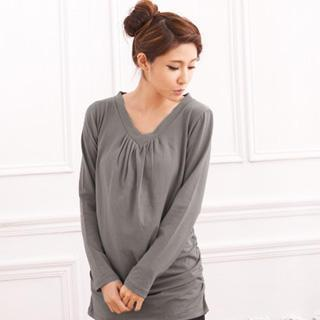 Rushed Long-sleeve V-neck Top