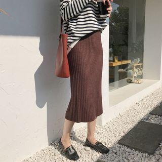 Plain Midi H-line Knit Skirt