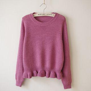 Frill Hem Furry Sweater