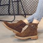 Faux Suede Ankle Strap Combat Ankle Boots
