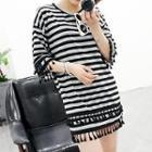 Short-sleeve Paneled Striped Dress