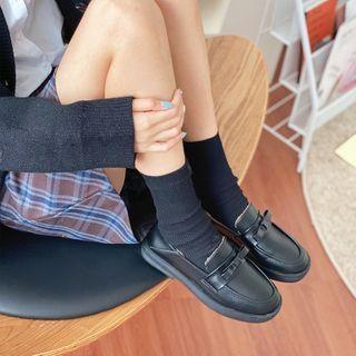 Faux Leather Fleece-lined Block-heel Loafers