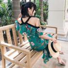 Short-sleeve Cold-shoulder Ruffle-trim Print Midi Dress