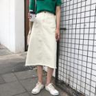 High Waist Midi Denim A-line Skirt