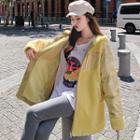 Metallic Paneled Zip Hooded Jacket