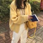 Plain Long-sleeve Knit Cardigan Yellow - One Size