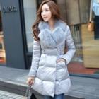 Faux-fur A-line Denim Coat