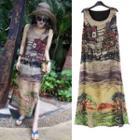 Printed Sleeveless A-line Midi Chiffon Dress
