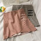 Frog-button Checker Mini Skirt
