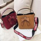 Bow Faux Leather Bucket Bag