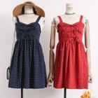 Ribbon-front Sleeveless Dotted Dress