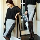 Lace Panel Pencil Skirt