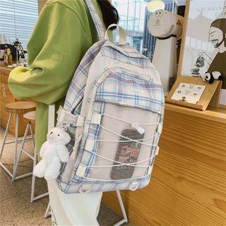 Drawstring Plaid Nylon Backpack