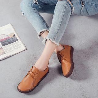 Faux-leather Lace-up Casual Shoes