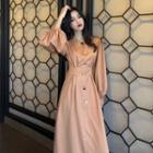 Puff-sleeve A-line Maxi Dress