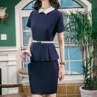 Peplum Collared Short-sleeve Dress