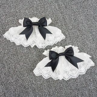 Bow Lace Cuffs White - One Size