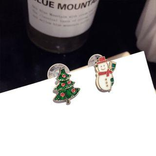 Non-matching Stainless Steel Christmas Tree & Snowman Earring 1 Pair - Steel Needle - Gold - One Size