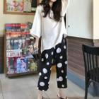 Plain Hoodie / Dotted Cropped Pants